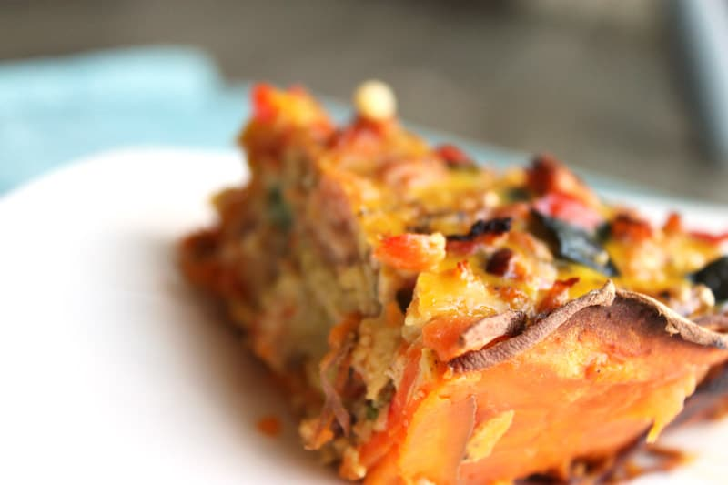 Sausage Quiche with a Yam Crust |Sausage Quiche with a Yam Crust: The yam crust makes this quiche come together quickly and it ends up being significantly lighter than using a pastry crust. The filling is hearty and satisfying and best made with farm fresh pasture raised eggs, organic produce, and meat from a local butcher. | thenourishedfamily.com