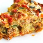 Sausage Quiche with a Yam Crust |Sausage Quiche with a Yam Crust: The yam crust makes this quiche come together quickly and it ends up being significantly lighter than using a pastry crust. The filling is hearty and satisfying and best made with farm fresh pasture raised eggs, organic produce, and meat from a local butcher.| thenourishedfamily.com