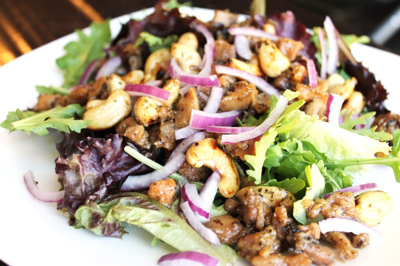 Cashew Chicken Salad: This is the most flavorful chicken I have ever made. It was an instant hit for the whole family, took less than 30 minutes to prepare, & tastes so great as leftovers that we don't even bother reheating it. | thenourishedfamily.com