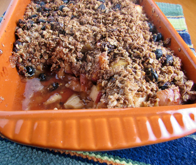 Easy Healthy Gluten-Free Apple Crisp is a yummy desert that is dairy and egg free.  A great topping for ice cream, pancakes or waffles and is delicious on ham | thenourishedfamily.com