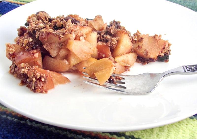 Easy Healthy Gluten-Free Apple Crisp is a yummy desert that is dairy and egg free.A great topping for ice cream, pancakes or waffles and is delicious on ham | thenourishedfamily.com