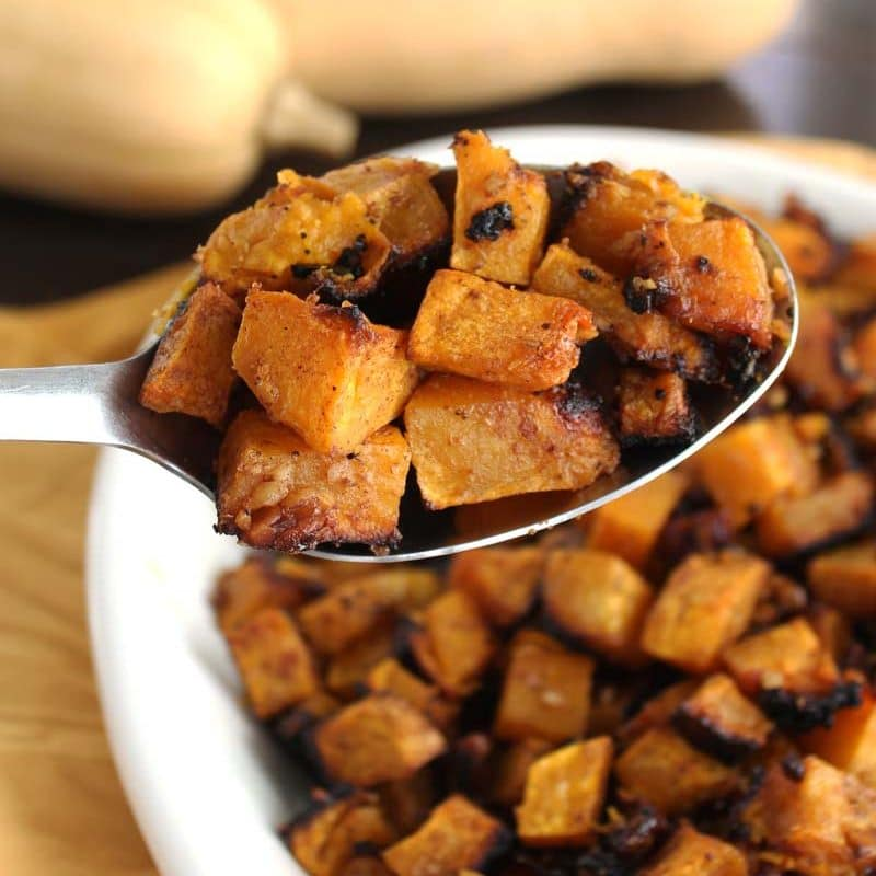 Roasted Butternut Squash {Cinnamon & Walnuts}