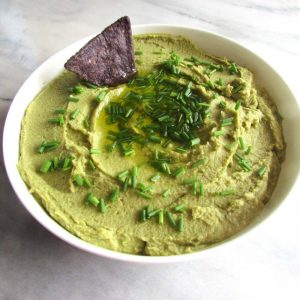 You won't believe how good this Homemade Garlic Chive Hummus {No Tahini} is! Packed full of garbanzo beans, chives, & garlic with a little olive oil instead of tahini (allergy friendly) | thenourishedfamily.com