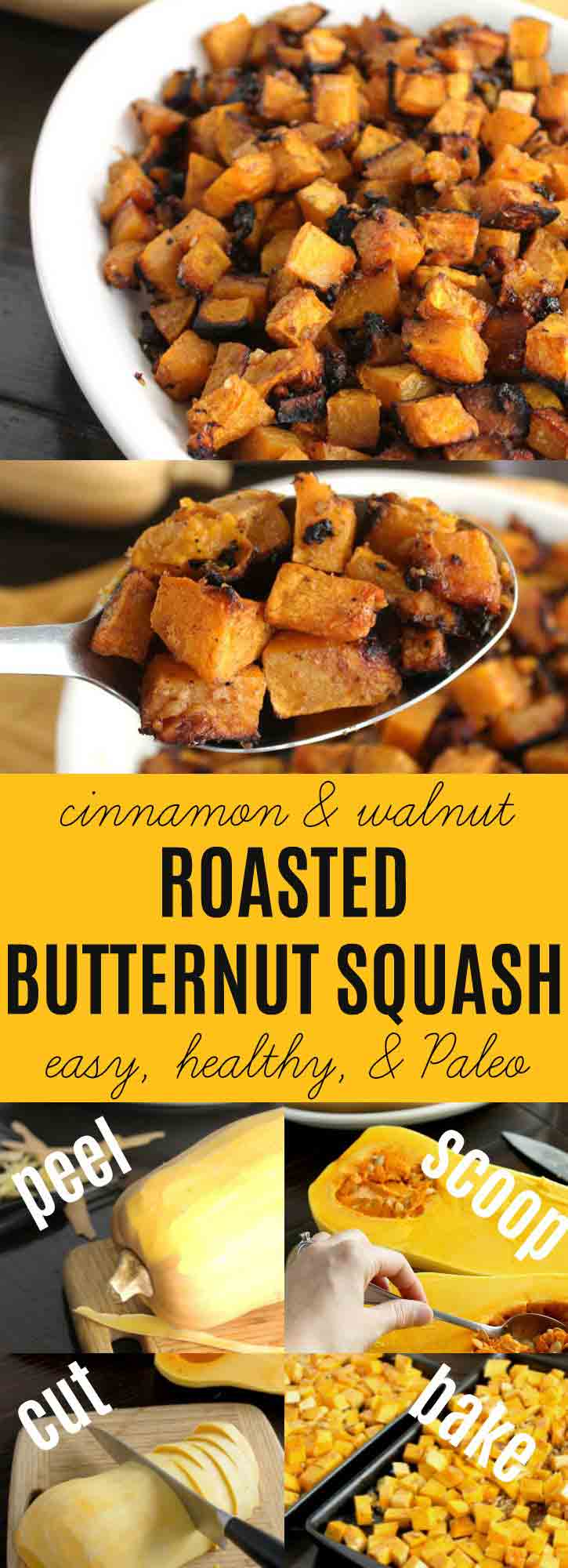 This Roasted Butternut Squash {Cinnamon & Walnuts} is my husband's favorite autumn spiced vegetable recipe. I love that it is so easy to make & healthy for our family. The sweetness of the squash is complimented with a touch of honey & the walnuts give this dish a nice crunch.  (Paleo, GAPS, SCD, AIP friendly) | thenourishedfamily.com
