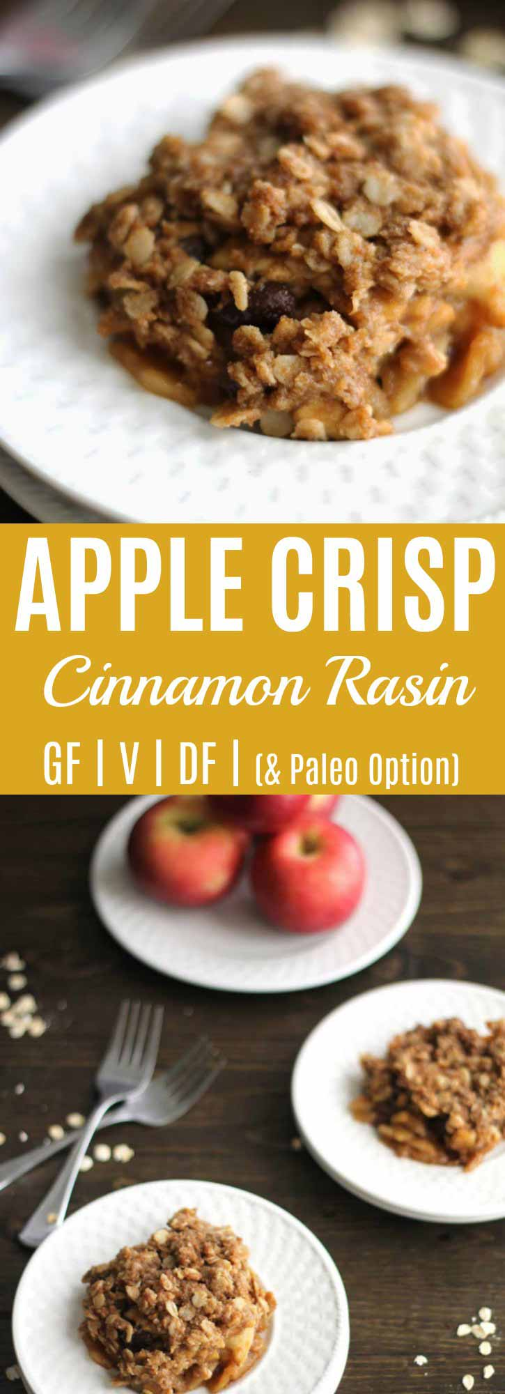 Cinnamon Raisin Apple Crisp {Coconut Oil, Gluten-free} | This apple crisp is my #1 requested recipe this fall; whenever I bring this apple crisp or send it to work with my husband people BEG for the recipe! Made with wholesome ingredients, no refined sweeteners, is gluten-free, & contains nourishing coconut oil. | thenourishedfamily.com