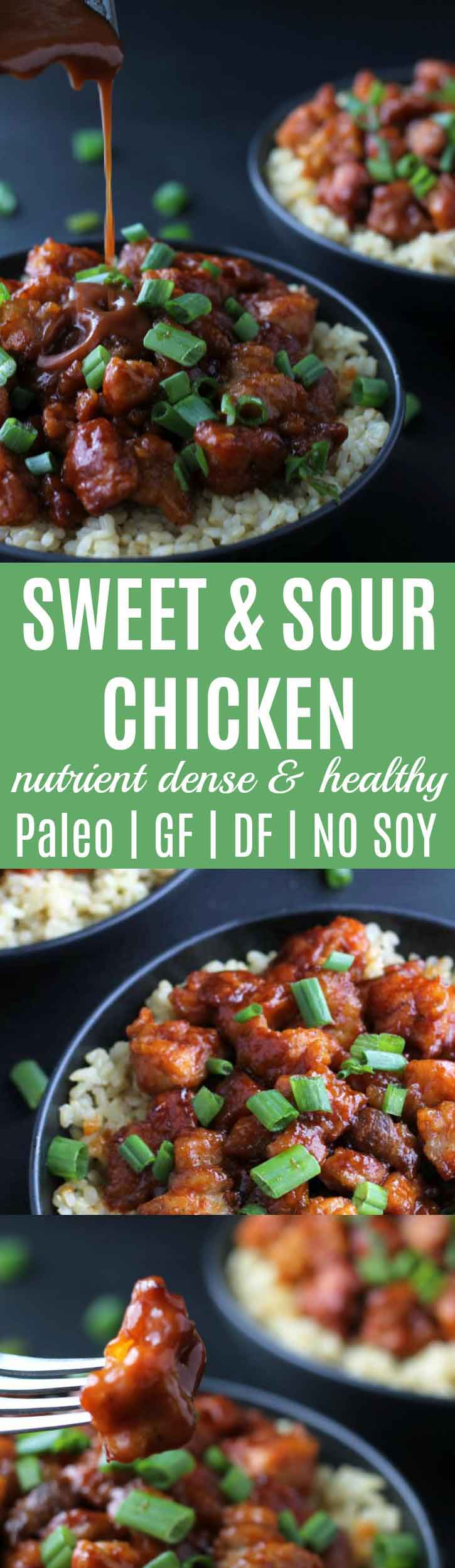 Sweet & Sour Chicken {Paleo} | This Sweet & Sour Chicken is a absolutely divine. It's so good you won't even want dessert afterwards! Paleo, gluten-free, dairy-free, & naturally sweetened. | thenourishedfamily.com