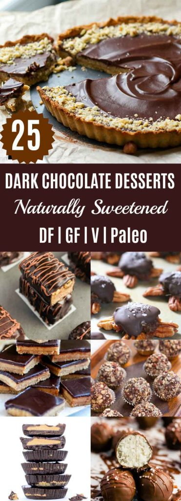 25 Dark Chocolate Desserts {Naturally Sweetened} | Looking for somethingchocolatey thisChristmas season? Check out these 25 Chocolate Desserts that are made using only naturalsweeteners such as dates, honey, maple syrup, & coconut sugar. | thenourishedfamily.com