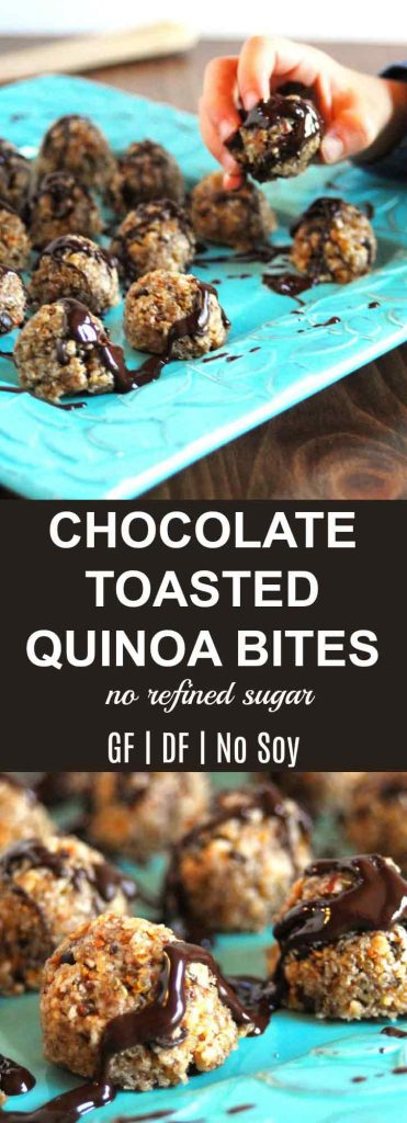 Chocolate Toasted Quinoa Energy Bites |Chocolate Toasted Quinoa Energy Bites {No Refined Sugar} are amazing! The perfect snack or small meal, if in a time crunch, for the young and old alike. | thenourishedfamily.com