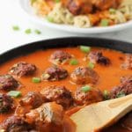 These Thai Coconut Curry Meatballs are a long time favorite and slowly perfected meal at my house. Our one year old is absolutely LOVING this nutrient dense dinner right now! The meatballs are packed full of protein, hidden zucchini, & red curry paste. And you are going to love the creamy coconut curry sauce. Yum! | thenourishedfamily.com