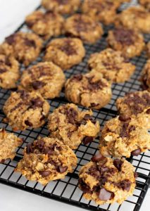 Peanut Butter Banana Oatmeal Cookies on a wire cooling rack.