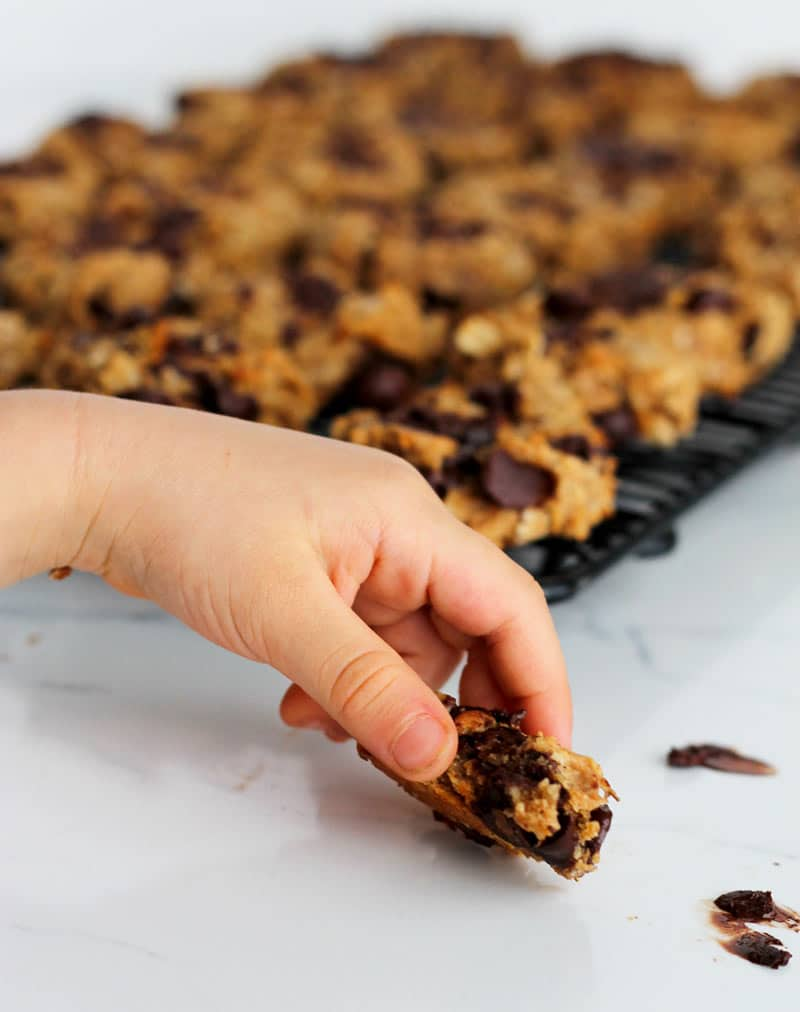 Child's hand grabbing a healthy cookie.