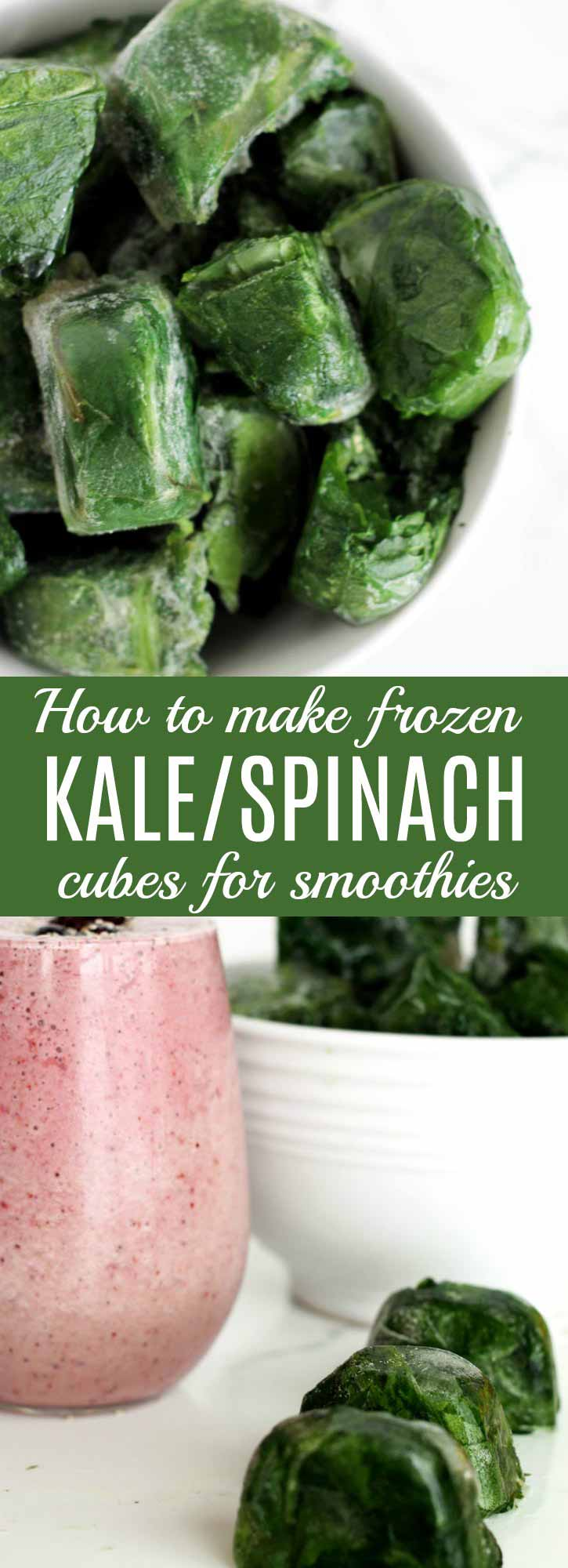 How to Make Frozen Kale & Spinach Cubes: These kale & spinach cubes are easy to make & easy on the budget. A great way to always have healthy smoothie ingredients on hand. | thenourishedfamily.com