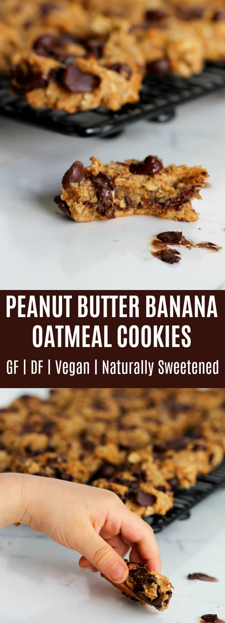 Collage of Peanut Butter Banana Oatmeal Cookies
