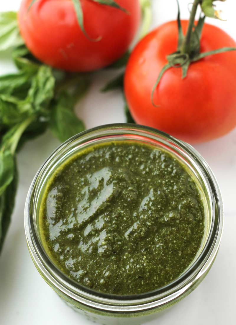 Home made basil pesto with walnuts, authentic olive oil, organic basil, & organic parmesan. | the nourishedfamily.com