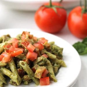 Close up of Pesto Chicken Pasta on a plate.