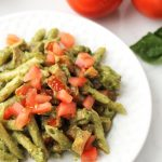 Fresh basil & tomatoes with the Pesto Chicken Pasta.